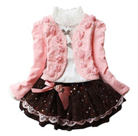 Wholesale Girls Dresses Three Pieces - Three-piece Girls Overskirt Knitted Dress Kids Clothing Sets Long Sleeve Coat Skirts Rose Lace Short Dress 3-10T