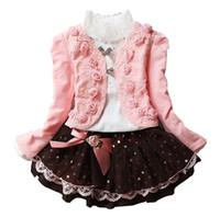 tejido de encaje de manga larga al por mayor-Vestido de punto con sobrefalda para niñas de tres piezas Conjuntos de ropa para niños Faldas de abrigo de manga larga Vestido corto de encaje rosa 3-10T
