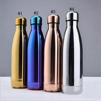 Wholesale Steel Camp Mug - Cola Bottle Water Cup Insulation Mug 500ML Vacuum Bottle Sports Stainless Steel Cola Bowling Shape Travel Mugs 4 Colors 50pcs OOA1881