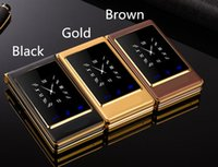 Wholesale Quad Band Mobile Unlocked - 2017 new arrival quad band luxury flip cell phone unlocked with double screen big keyboard gold mobile phone