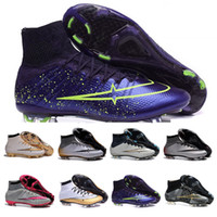 Wholesale Wholesale Indoor Soccer Shoes - Ice Skates Superfly TF IC Indoor Soccer Cleats Mens Boys superfly cristiano ronaldo Lava Soccer Messi football shoes Boots High Ankle