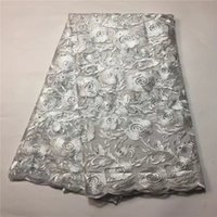 Wholesale Wholesale Embroidered Organza Fabric - Hot Sale Embroidered White Flower Pattern With Stone Design French Lace Cheap High Quality African Organza Lace Fabric