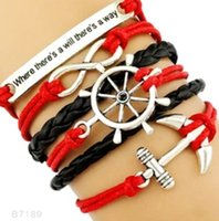 Wholesale Compass Jewelry For Men - (10 Pieces Lot) High Quality Infinity Love Faith Compass Anchor Charm Suede Leather Wrap Bracelets For Women Men Gifts Jewelry Drop Shipping