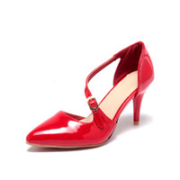 Wholesale Elegant Red Heels - Europe and the United States high heels, pointed buckle wedding, pure color side empty elegant women's shoes HUIHAO1398