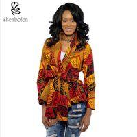 Wholesale Casual Tuxedo Jackets Women - Womens Coat Clothing African Pure Cotton Batik Long Sleeve Print Lapel Casual Suits Tuxedo Blazer Jacket Outerwear
