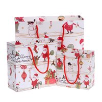 Wholesale Hot Chocolate Packaging - Wholesale- Hot 1pc 3 Size Cartoon Santa Claus Snowman Printed Candy Chocolate Paper Bag Merry Christmas Gift Bags Party Packaging 2016
