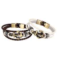 Wholesale Leather Wrist Cuff Rings - Cuff Leather Bracelets Wrist Band Vintage Punk Rock Fashion Anchor Bracelet Alloy Beads Charm For Men And Women Jewelry
