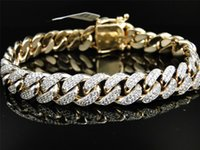 Mens Solid Yellow Gold Miami Cubano Genuine 12 MM Diamond Bracelet Bangle 9.5 Ct