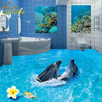Plastic Vinyl Wallpapers Waterproof Wholesale  Custom Photo Wallpaper 3D  Bathroom Floor Ocean Wave Beach Two