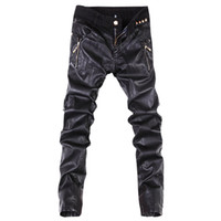 Wholesale Leather Jeans Men Skinny - Wholesale-New arrivals fashion men casual pants slim fit skinny leather jeans trousers 28-36 B104