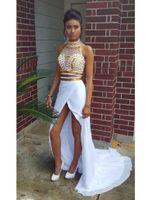 vestido branco fenda frente venda por atacado-Novo Design Sexy 2 Peças Vestidos de Baile de Alta Neck Cristais de Ouro Branco Chiffon Frente Fenda Festa de Noite Vestidos Robe de Soiree Custom Made