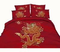 colcha chinesa king size venda por atacado-Tradição chinesa Dragão Phoenix Chinatown 3D Impresso Conjuntos de Cama Gêmeo Completa Rainha King Size Colchas Roupa de Cama Capa de Edredão Moda 3/4 PC