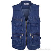Wholesale Sleevless Jackets - Men Denim Vests Mens Outdoors Cotton Multi Pocket Sleevless Jean Jacket Men Jeans Masculino free shipping