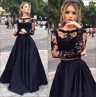 Wholesale Vestido Longo Peplum - Sexy Black A Line Prom Dresses Two Pieces Long Sleeve Top Lace Formal Evening Gowns Sheer Vestido Formatura Longo Wear