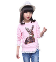 Wholesale Children S Lace Tops - 17 Spring Autumn Girls Lace O-neck T-shirt Baby Kids Cotton Rabbit Long Sleeve Tops Children Clothes Girls Clothing Tees