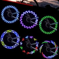 Wholesale Led Lights Spokes - Wholesale- 7 Pcs LED Motorcycle Outdoor Cycling Bike Bicycle Tire Wheel Waterproof Valve Flashing Spoke Light Flash 8 Colors Wholesale