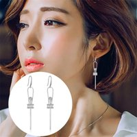 Silver White Gold AAA Zircon Long Bar Dangle Drop Earrings para mulheres Vestido de casamento Party Earring Boho Jóias SY