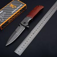 nova bronzear faca de sobrevivência ao ar livre venda por atacado-NOVA Browning DA86 Titanium Tactical Faca Dobrável de Madeira Lidar Com Grande Tamanho de Acampamento Ao Ar Livre de Sobrevivência de Bolso Caça Utility EDC Coleção