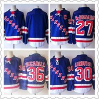 Wholesale Rangers Sports - 2018 New York Rangers New 30 Henrik Lundqvist Jersey 36 Mats Zuccarello 27 Ryan McDonagh Ice Hockey Jerseys Sports Uniforms Stitched Blue