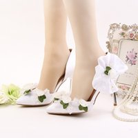 Wholesale Satin White Dress Sandals - White Satin Wedding Shoes Pointed Toe Flower Bridal Dress Shoes Women Summer Sandals Bridesmaid Shoes Party Prom Pumps