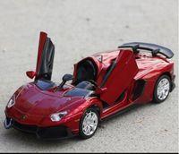 Wholesale Auto Diecast - Four Colors Diecast Metal Alloy Car 1:32 Pull Back Sport Car Model Simulation Autos with Sound&Light Boys Collection Oyuncak