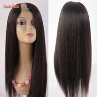 Wholesale U Part Wig Styles - Wholesale Price Soft U Part Wig Yaki Straight Human Hair Peruvian Virgin Human Hair U part Wig Straight Style Middle Part U Space