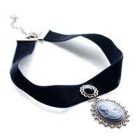 Wholesale Evil Eye Cross Charm - Vintage Black Velvet Stretch Chokers Necklace With Cabochon Gem Evil Eyes Cross Pendant Charm Gothic Statement Chokers
