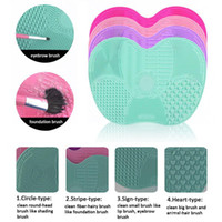 padded bath board - 2017 hot Apple shape Makeup Brush Cleaning Mat Washing Tools Hand Tool Pad Sucker Scrubber Board Washing Cosmetic Brush Cleaner Tool