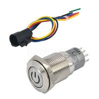 botão de 12 mm 12v venda por atacado-Atacado-Self-locking 16mm 12V carro alumínio LED Power Metal botão interruptor 6A / 125VAC trava tipo + LED interruptor soquete