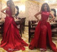 vestido de noche de cantante al por mayor-2017 Celebrity Lebanon Singer Dress Party Queen Red 2k16 palabra de longitud de encaje vestidos de fiesta vestidos de noche