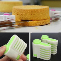 kek tabakası dilimleme makinesi toptan satış-5 Katmanlar DIY Kek Ekmek Kesici Leveler Dilimleme Kesme Fiksatör Mutfak Accessoires Aracı D993
