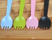 Wholesale Pastry Forks - Frosted cake fork spoon fork spoon pastry spoon fork special thick food grade individually wrapped spork