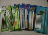 Wholesale Stainless Straw Brush - 20oz 30oz Drinking Straws and Brushes Mugs Coolers Tumbler Stainless Steel Bar Hotel Bent Curved Straight Drinking Straws