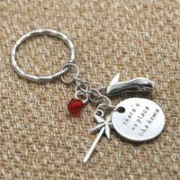 Wholesale Home Keyrings - 12pcs lot Nostalgic There's no place like home keyring Magic Wand Crystal key chain