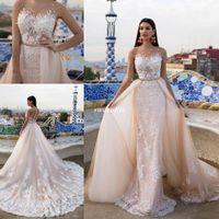 Wholesale Champange Crystal Dress - Luxury Milla Nova Bridal 2017 Modern Wedding Dresses Champange Lace Beaded Sheer Neck Court Train Detachable Oversirts Gowns Country Garden