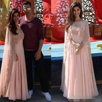 Wholesale Indian Chiffon Evening Gowns - Arabic Kaftan 2018 Pink Applique Women Evening Dresses With Sheer Cape Beads Chiffon Formal Gowns Indian Long Prom Dress