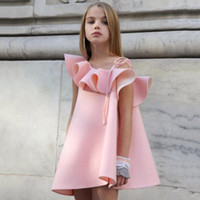 Wholesale One Shoulder Tutu - girls dresses Ruffle Collar One Shoulder Princess Dress New 2017 Pink kids dress Summer Children Sundress C661