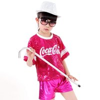 Wholesale Jazz Dance Wearing Clothes - 2017 New Hip-hop Sequins Jazz Dance Wear Children Performance Clothing Modern Hip-hop DS Stage Costume 4 Color 0609