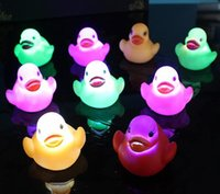 Discount rubber duck bathroom toy - led water light glowing ducks flash glitter duckling baby bathing duck floating shiny Bathroom bath toys