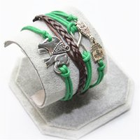 Wholesale One Direction Girls Accessories - Wholesale-One Direction 2016 Hot New Men Bijoux Owl Elephant Multilayer Green Leather Bracelet for Women Accessories Jewelry Girl Bangle