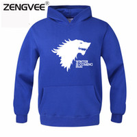Wholesale Mens House - Wholesale-Game of Thrones Men 2016 New Design Mens Hoodies House Stark Standard Thickness Direwolf Print Winter is Coming Free Shipping