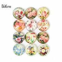 Wholesale image cabochon resale online - BoYuTe MM Round Mix Image Flower Flatback Glass Cabochon Stone for Jewelry Making New Product