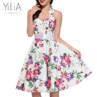 Wholesale Skater Dress Patterns - Wholesale- Yilia Sexy Summer A Line Party Dresses Women Vintage 50s 60s Skater Halter Patterns Ladies Dot White Floral Print Backless Dress