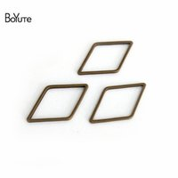 Wholesale Rhombus Ring - BoYuTe 300Pcs Metal Brass Antique Bronze Plated 14*23MM Rhombus Shape Connector Jump Ring Diy Jewelry Findings Components