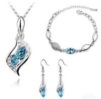 pendientes de platino plateados al por mayor-Conjunto de joyas Conjuntos de joyas de zafiro de la boda Piedra de gema Collar de plata Platino plateado de las mujeres Pendiente de collar de cristal austriaco