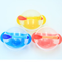 Wholesale Plastic Train Sets Kids - Round Baby Training Bowls Sets Plastic Anti Scald Sucker Bowl Set Easy To Clean Kids Supplies With Spoon Cover 2 95xd B