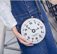 Wholesale Hip Hop Clocks - New Korean fashion embroidery line clock handbags rivets shoulder diagonal package package small round bag