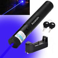 голубой лазер с видимым лучом оптовых-Лазерная ручка-указатель Visible Blue Voilet 10-мильная однолучевая аккумуляторная синяя ручка-указатель Lazer 405 нм + аккумулятор 18650 + зарядное устройство
