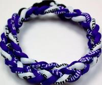 Wholesale Purple Braid Necklace - Promotion - 350PCS Lot Baseball Sports Titanium 3 Rope Braided Purple Purple White Sport GE Necklace RT040