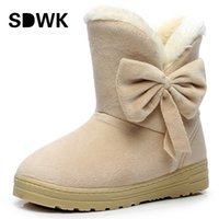Wholesale Waterproof Snow Boots Wholesale - Wholesale-2016 NEW Women Boots Warm Winter Snow Boots Suede Ankle Boots Bowtie Thick Plush Inside Waterproof Botas Mujer Fur Insole Free